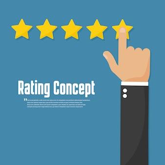 Classificação de estrelas douradas. conceito de revisão do cliente