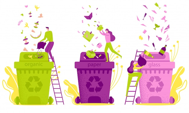 Classificação de resíduos de ilustração plana e eliminação.