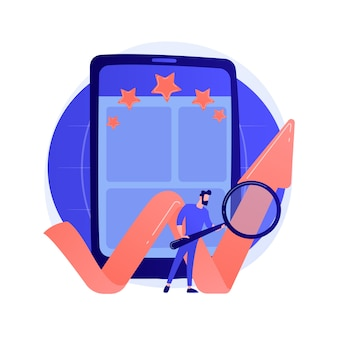 Classificação do aplicativo móvel, classificação online, marca de eficiência. definir estrelas para aplicação, avaliação de funções. personagens de desenhos animados de usuários de smartphone.