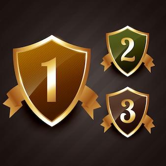Classificação do emblema da etiqueta em ouro