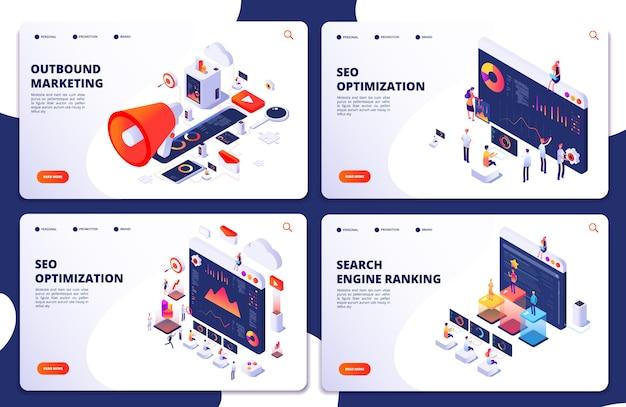 Classificação do mecanismo de busca, páginas de destino isométricas de otimização de seo. marketing e análise de seo, resultado do ranking online