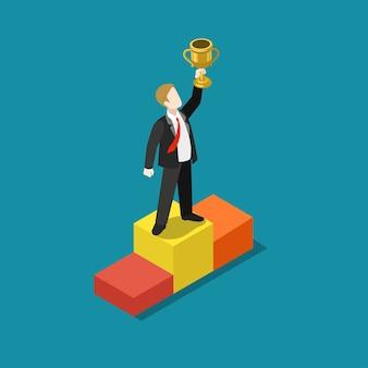 Classificação do troféu de negócios conceito vencedor do prêmio web plana 3d