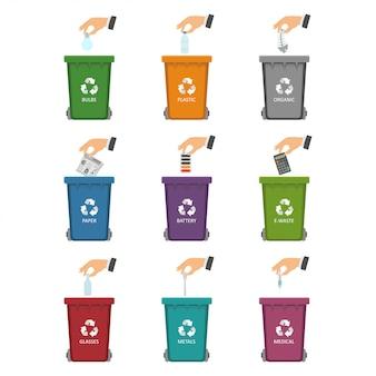 Classificação e disposição de resíduos para o meio ambiente.