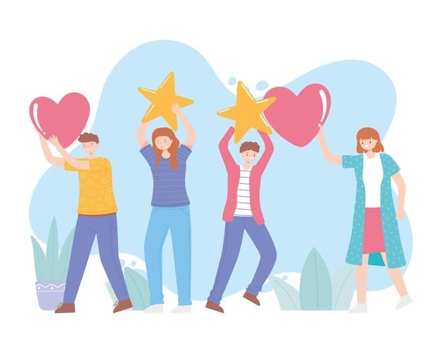 Classificação e feedback, jovens com estrelas e coração, ilustração de desenho animado de mídia social