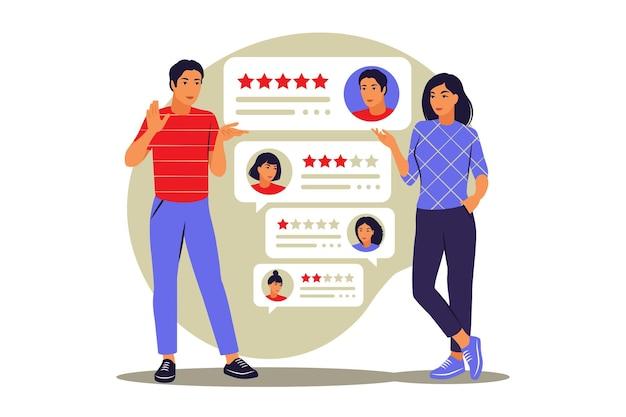 Classificação por estrelas. avaliações online. conceito de feedback. ilustração vetorial. plano.