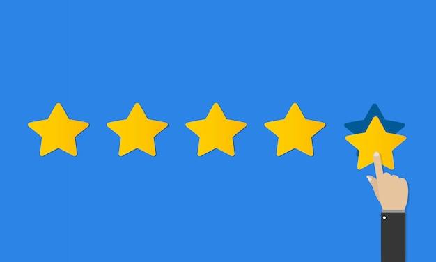 Classificação por estrelas de qualidade em design plano. avaliação do cliente, taxa de desempenho, análise positiva. conceito de feedback positivo. mão de negócios dar classificação de cinco estrelas.