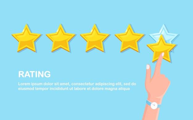 Classificação por estrelas. feedback do cliente, revisão do cliente. pesquisa para serviço de marketing. design fkat