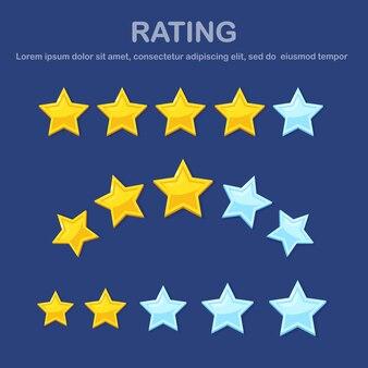 Classificação por estrelas. feedback do cliente, revisão do cliente. pesquisa para serviço de marketing. design plano.