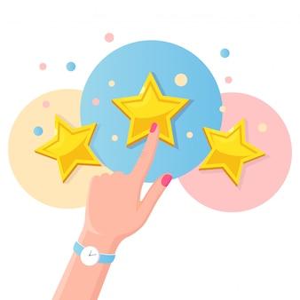 Classificação por estrelas. feedback do cliente, revisão do cliente. pesquisa para serviço de marketing. fkat