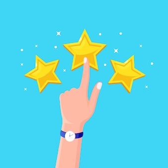 Classificação por estrelas. feedback do cliente, revisão do cliente. pesquisa para serviço de marketing. .