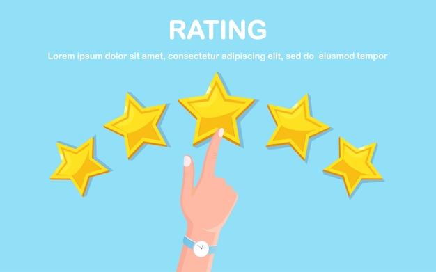 Classificação por estrelas. feedback do cliente, revisão do cliente. pesquisa para serviço de marketing.