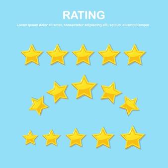 Classificação por estrelas. feedback do cliente, revisão do cliente. Vetor Premium
