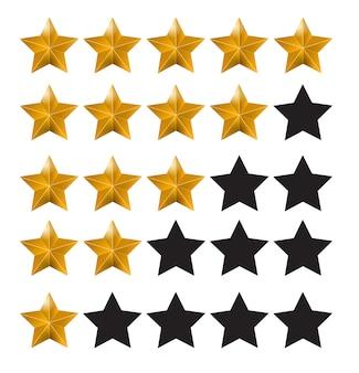 Classificação por estrelas. sistema de avaliação e sinal de revisão positiva.