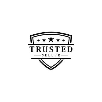 Classificação positiva design do logotipo do emblema de vendedor confiável