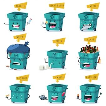 Classificação, reciclagem e eliminação de resíduos e lixo.