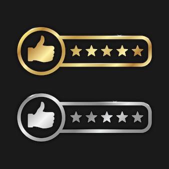Classificações de produtos de boa qualidade: ouro e prata