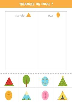 Classifique as fotos por formas. triângulo ou oval. jogo educativo para crianças.