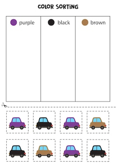Classifique os carros por cores. aprender cores para crianças.
