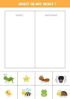Classifique os cartões em categorias. insetos ou não insetos. jogo lógico para crianças.