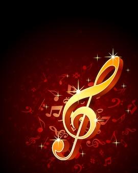Clave de ouro inscrição notas musicais fundo
