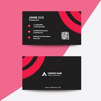 Clean flat design cartão de visita de negócios corporativos de círculo vermelho e preto