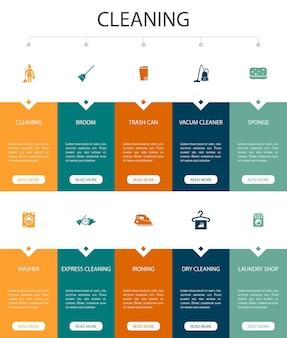 Cleaning infographic 10 option ui design.broom, lixeira, esponja, ícones simples de lavagem a seco