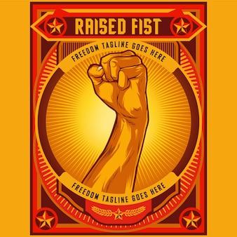 Clenched fist propaganda poster ilustração