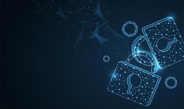 Clicando na tela com rede e cadeado segurança cibernética de proteção de dados empresarial