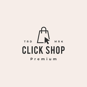 Click shop shopping bag hipster logo vintage