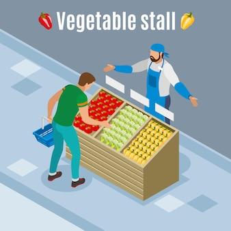 Cliente com cesto durante compras de legumes