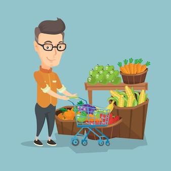 Cliente com ilustração vetorial de carrinho de compras.
