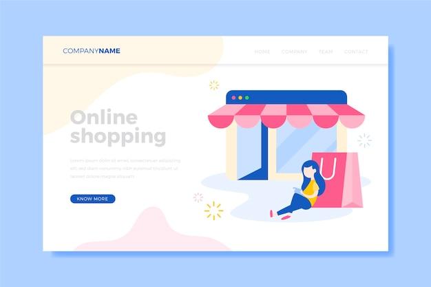 Cliente com página de destino de compras com bolsa rosa