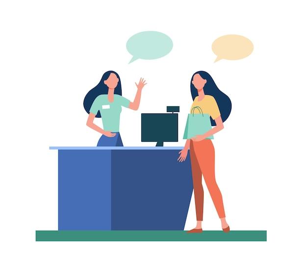 Cliente com sacola de compras pagando pela compra. dinheiro, caixa registradora, caixa, mulher, ilustração plana de bolha de conversa.