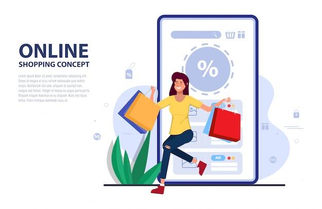 Cliente compras código de promoção on-line para desconto no aplicativo móvel.
