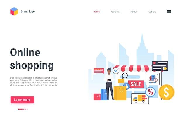Cliente da página de destino do serviço de compras online comprando por telefone em uma loja de varejo online