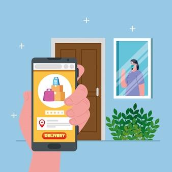 Cliente de mulher com máscara por trás da janela e smartphone