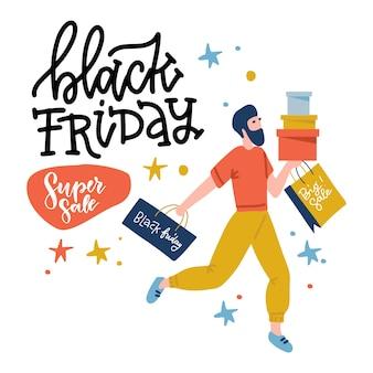 Cliente do sexo masculino de sexta-feira negra segurando sacolas e caixas. ilustração de projeto liso com letras.