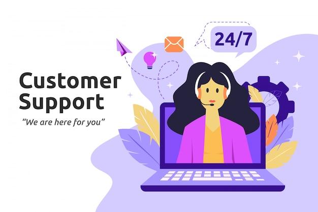 Cliente e operador, conceito de suporte técnico on-line