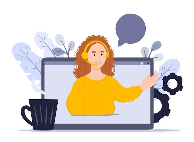 Cliente e operador de conceito, suporte técnico online