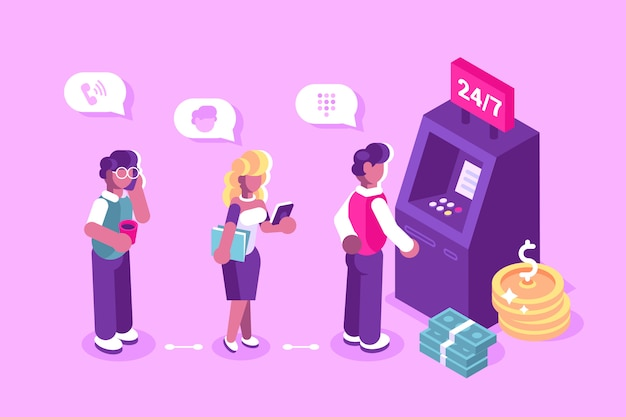 Cliente em pé perto do caixa eletrônico e segurando a ilustração do cartão de crédito