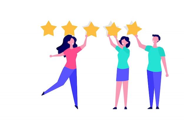 Cliente feliz, feedback do usuário rever o estilo de ilustração do conceito.
