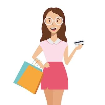 Cliente jovem feliz. a menina tem pacotes e um cartão de crédito nas mãos