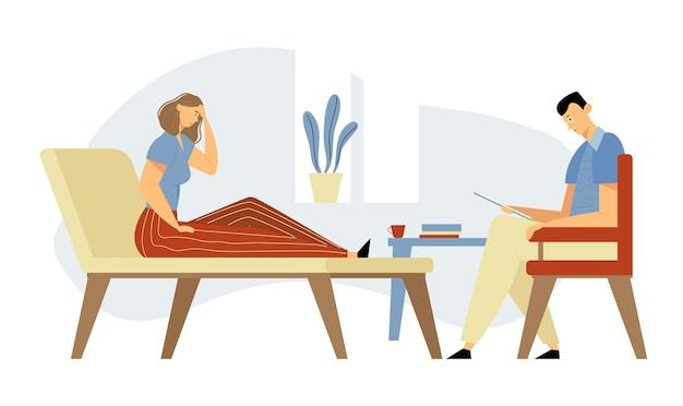 Cliente mulher deprimida na clínica deitada no sofá durante consulta de psicólogo para ajuda profissional. médico, especialista em conversa com o paciente sobre problema de saúde mental. ilustração plana dos desenhos animados