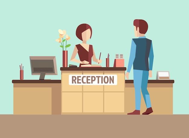 Cliente na recepção