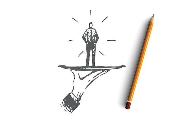 Cliente, negócio, serviço, ajuda, conceito de cliente. cliente desenhado de mão em um esboço de conceito de prato.
