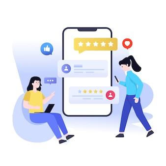 Cliente online analisa o design da ilustração plana