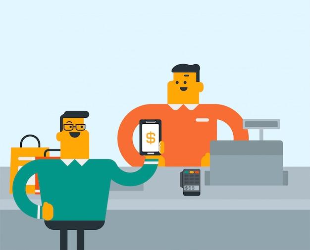 Cliente pagando sem fio com seu smartphone.