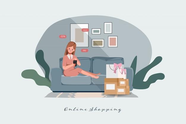 Cliente que compra on-line em casa