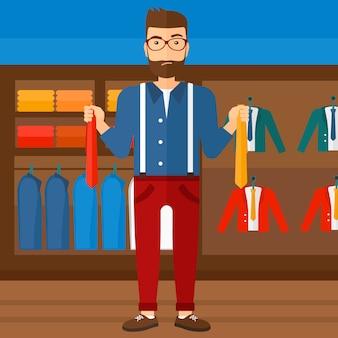 Cliente que escolhe gravatas