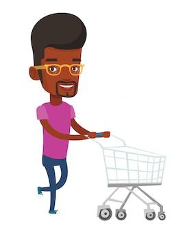 Cliente rodando com carrinho de compras.